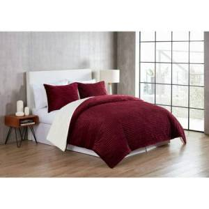 VCNY Home Zane Ribbed Plush Reverses Faux Fur Sherpa 3 Piece Comforter Bedding Set, Shams Included