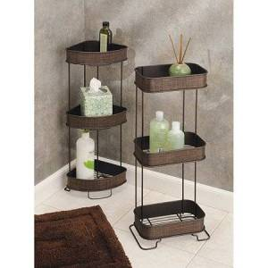 InterDesign Twillo Free Standing Bathroom Corner Storage Shelves for Towels, Soap, Candles, Tissues, Lotion, Accessories, 3 Tier, Bronze