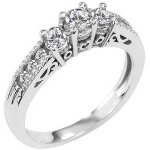 Generic 1/2 Carat T.W. Diamond Three-Stone 14kt White Gold Ring