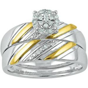 Forever Bride 1/12 Carat T.W. Diamond Sterling Silver and 10kt Yellow Gold Bridal Set