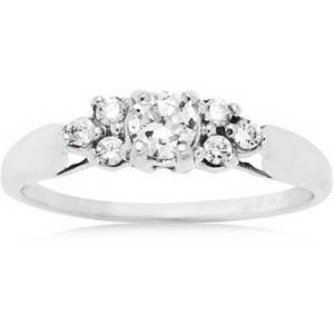 Believe by Brilliance .69 Carat T.G.W. CZ 10kt White Gold Engagement Ring