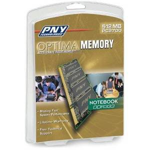 PNY OPTIMA 512MB DDR 333 MHz PC2700 Notebook / Laptop SODIMM Memory Module MN0512SD1-333