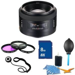 Sony SAL50F14 50mm f/1.4 Standard Lens Essentials Kit. Kit Includes Lens, Filter Kit, 8 GB Memory Card, 3 Pcs. Lens Cleaning Kit, Lens Cap Keeper, and Professional Blower / Dust Removal System
