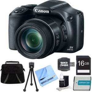 Canon PowerShot SX530 HS 16MP 50x Opt Zoom Full HD Digital Camera Black Deluxe Bundle. Includes 16GB SD Memory Card, 1150mah Battery Pack, Compact Deluxe Gadget Bag, Hi-Speed SD USB Card Reader