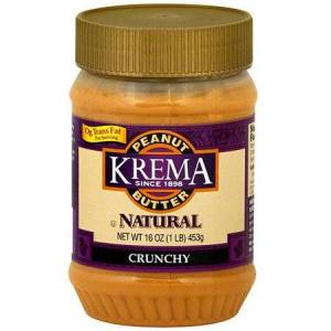 Krema Crunchy Peanut Butter, 16 oz (Pack of 12)