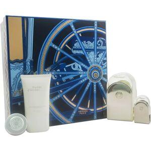 Hermes Voyage D'Hermes by Hermes for Unisex - 4 Pc Gift Set 3.3oz EDT Spray (Refillable), 0.16oz EDT Mini Splash, 1oz All Over Shower Gel, 0.35oz Moisturizing Balm Face & Body