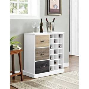 Altra Ameriwood Home Mercer Wine Cabinet with Multicolored Door Fronts, White