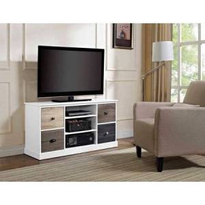 """Altra Ameriwood Home Mercer 50"""" TV Console with Multicolored Door Fronts, White"""