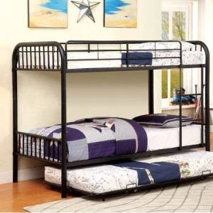 Benzara Rainbow Contemporary Twin/Twin Bunk Bed, Black