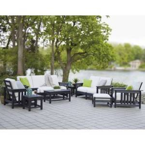 POLYWOOD; Mission Deep Seating Group - Seats 8 - Black / Birds Eye