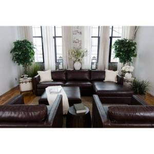 Elements Fine Home Furnishings Elements Fine Home Urban Leather 4 Pc. Sofa Set with Square Cocktail Ottoman