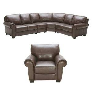 Elements Fine Home Furnishings Elements Lodge 2-Piece Top Grain Leather Large Sectional (Left Arm Facing Loveseat, Corner Seat, Armless Chair, and Right Arm Facing Loveseat) and Standard Chair in Coco