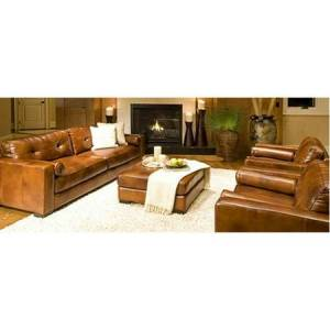 Elements Fine Home Furnishings Soho 4-Piece Top Grain Leather Collection in Rustic including 1-Sofa, 2-Oversized Chairs and 1-Cocktail Ottoman