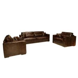 Elements Laguna 3-Piece Top Grain Leather Collection in Saddle including 1-Sofa and 2-Standard Chairs