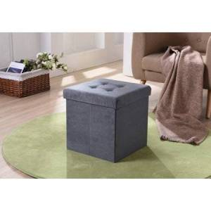 Hodedah Imports Suede Foldable Storage Ottoman