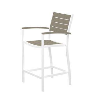 POLYWOOD A201-13SA Euro Counter Arm Chair in Satin White / Sand