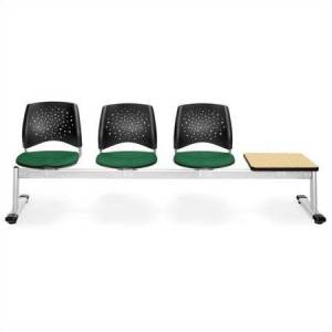 OFM Star Beam Seating with 3 Seats and Table in Forest Green and Oak