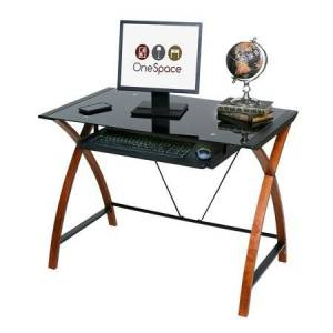 OneSpace Glass and Wood Computer Desk with Pullout Keyboard Tray