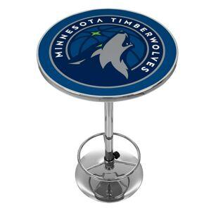 "Trademark Global Trademark NBA Minnesota Timberwolves 42"" Pub Table, Chrome"