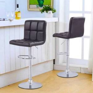 Adeco Trading Adeco Brown Faux Leather, Chrome Base, Adjustable Barstools (Set of 2)