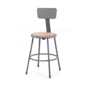National Public Seating Gray Adjustable Stool with Backrest