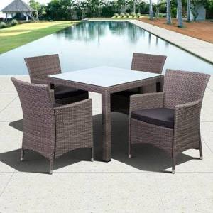 Atlantic Grand New Liberty Deluxe Square 5-Piece Patio Dining Set Brown with Off-White Cushions