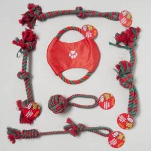 DollarItemDirect DOG TOY CHRISTMAS ROPE CHEWS 5 ASST ROPES & 1 DISK IN PDQ, Case Pack of 72