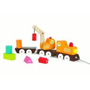 Janod Multi Color Crane Train with Blocks