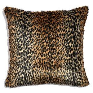 Hudson Park Collection Leopard Faux Fur Decorative Pillow, 20 x 20  - Brown
