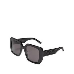 Christian Dior Women's Square Sunglasses, 55mm  - Female - Shiny Black/Smoke
