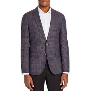 Boss Hartlay Houndstooth Slim Fit Sport Coat  - Male - Dark Pink - Size: 38R