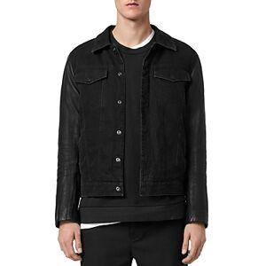 Allsaints Bennett Mix Media Regular Fit Trucker Jacket  - Male - Black - Size: Medium
