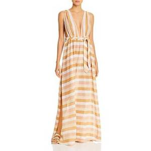 Ramy Brook Roma Maxi Dress Swim Cover-Up  - Female - Nuetral Combo - Size: Large