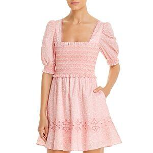 Jonathan Simkhai Athena Floral Smocked Mini Dress Swim Cover-Up  - Female - Blush - Size: Large