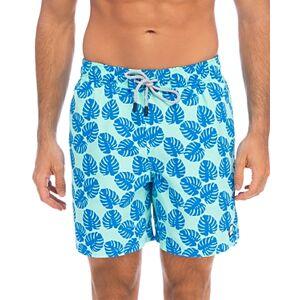 Tom & Teddy Leaf Print Swim Trunks  - Male - Pale Green/Blue - Size: 2X-Large