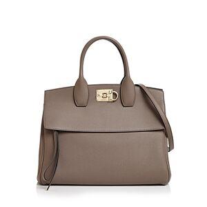 Salvatore Ferragamo Studio Bag Leather Satchel  - Female - Caraway Seed/Gold