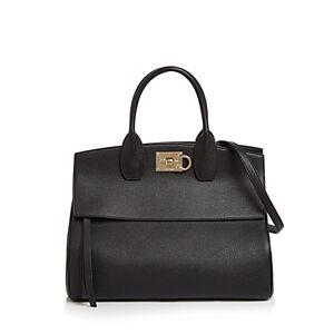 Salvatore Ferragamo Studio Bag Leather Satchel  - Female - Nero/Gold