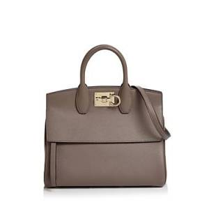 Salvatore Ferragamo Studio Bag Small Leather Satchel  - Female - Caraway Seed/Light Gold