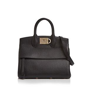 Salvatore Ferragamo Studio Bag Small Leather Satchel  - Female - Pebbled Black Leather/Gold