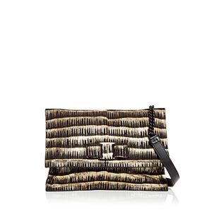 Salvatore Ferragamo Viva Textured Leather Shoulder Bag  - Female - Nero/oro