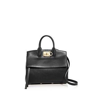 Salvatore Ferragamo Studio Bag Small Leather Satchel  - Female - Smooth Black Leather/Light Gold