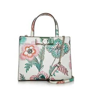 Salvatore Ferragamo Vara Floral Leather Tote  - Female - Stampa Sil