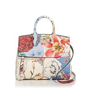 Salvatore Ferragamo Studio Bag Floral Leather Satchel  - Female - New Bianco