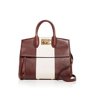 Salvatore Ferragamo Studio Bag Small Leather Satchel  - Female - Nebbiolo