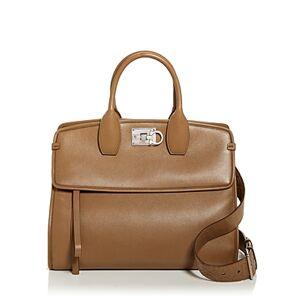 Salvatore Ferragamo Studio Bag Leather Satchel  - Female - Walnut