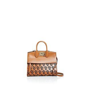 Salvatore Ferragamo Studio Bag Perforated Leather Satchel  - Female - Sella