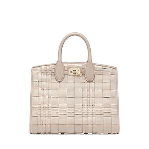 Salvatore Ferragamo Studio Bag Woven Leather Satchel  - Female - Bone