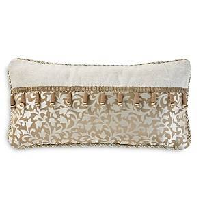 Waterford Ansonia Decorative Pillow, 12 x 24  - Ivory/gold