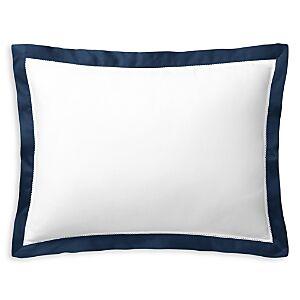 Ralph Lauren Organic Sateen Border Decorative Pillow, 16W x 12L  - Polo Navy