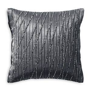 Donna Karan Current Pleated & Beaded Decorative Pillow, 12 x 12  - Gray